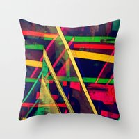 Industrial Abstract Green Throw Pillow
