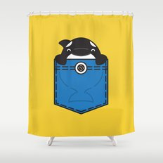 Pocket Whale Shower Curtain