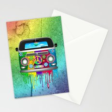 Hippie Bus Van Dripping Rainbow Paint Stationery Cards