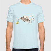 Baby on Bird Mens Fitted Tee Light Blue SMALL