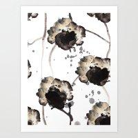 Skeleton Flowers Art Print