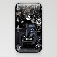 Broken, rupture, damaged, cracked black apple iPhone 4 5 5s 5c, ipad, pillow case and tshirt iPhone & iPod Skin