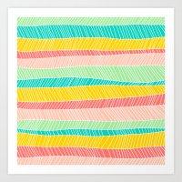 Beach Stripe (Vintage Ca… Art Print