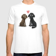 Cute Dog Illustration- Poodles White SMALL Mens Fitted Tee