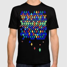 Shimmering Geometric SMALL Black Mens Fitted Tee