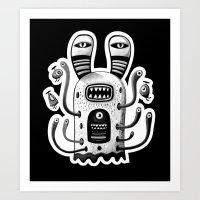 Rabbit Wormed (BW) Art Print
