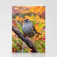 Bird in Autumn Foliage Stationery Cards