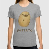 Pugtato Womens Fitted Tee Tri-Grey SMALL