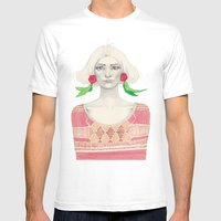 Two Red Flowers Mens Fitted Tee White SMALL