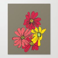 Grey Flowers Canvas Print