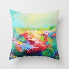 ETHERIAL DAYS - Stunning Floral Landscape Nature Wildflower Field Colorful Bright Floral Painting Throw Pillow
