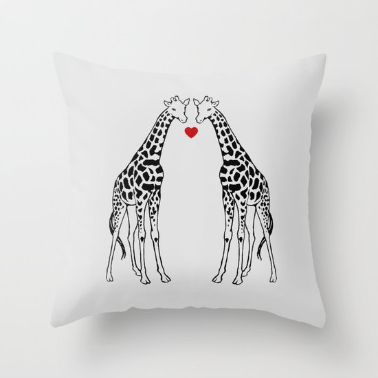 Giraffe Love Throw Pillow