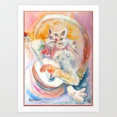 Cat Music Art Print