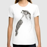 hipster T-shirts featuring Hawk with Poor Eyesight by Phil Jones