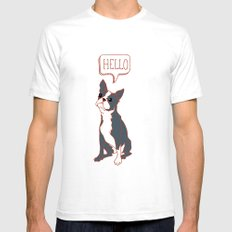 Boston Terrier, Hello, Red, Black, Grey Mens Fitted Tee White SMALL