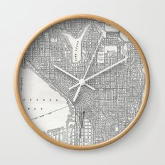 Vintage Seattle Map Wall Clock