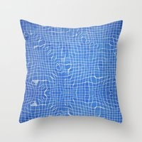 Abstract blue background grid Throw Pillow