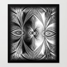 Abstract Peacock. Black+White. Canvas Print