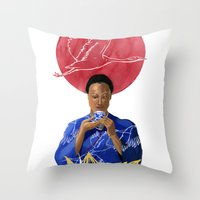Asian Lotus Throw Pillow