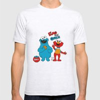 Elmo & Cookie Fan Art Mens Fitted Tee Ash Grey SMALL