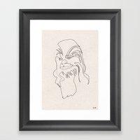 One Line Chewbacca Framed Art Print