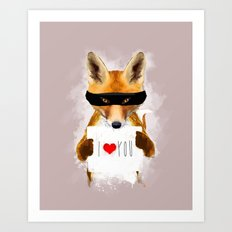 Fox I Love You Art Print