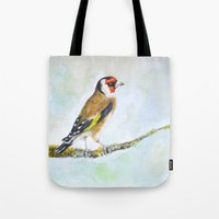 European goldfinch on tree branch Tote Bag
