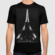 Eiffel Tower Black Mens Fitted Tee SMALL