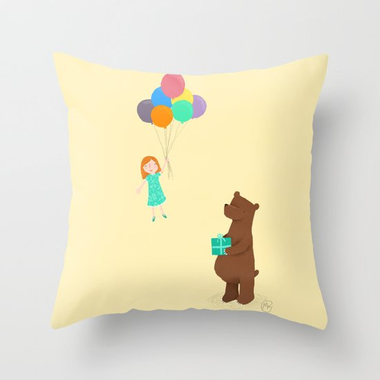 Bear and girl: party Throw Pillow