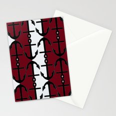 Anchors: Red, Coral and White Stationery Cards
