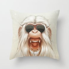 The Great White Angry Monkey Throw Pillow