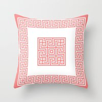 Greek Key coral Throw Pillow