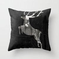 Deer City Collage 1 Throw Pillow