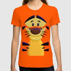 Cute Orange Cartoons Tiger Apple iPhone 4 4s 5 5s 5c, ipod, ipad, pillow case and tshirt Womens Fitted Tee Orange SMALL