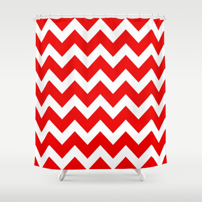 Chevron Red White Shower Curtain By Beautiful Homes Society6