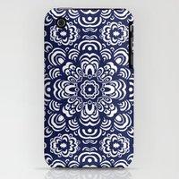 iPhone 3Gs & iPhone 3G Cases featuring Indigo Mandala by Rachael Jane Harrison