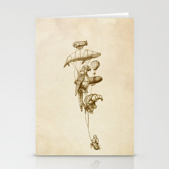 The Helium Menagerie (sepia) Stationery Card