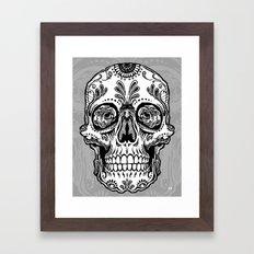 Sugar Skull (Gray) Framed Art Print
