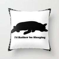 Cat nap w/border Throw Pillow