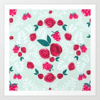 Roses & Berries Art Print