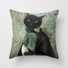 Rococo Cat - The Case of the Missing Fish Throw Pillow