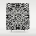 Black & White Folk Art Pattern Shower Curtain
