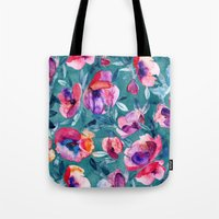 Flourish - a watercolor floral in pink and teal Tote Bag