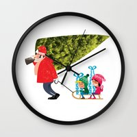 Buying The Christmas Tre… Wall Clock