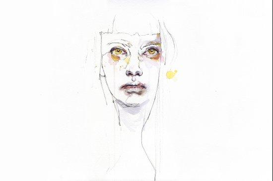 Golden eyes girl Art Print