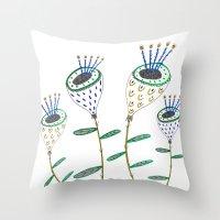 Plants, flowers, flower print, plant illustration, floral artwork, floral illustration,  Throw Pillow