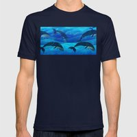 Tropical waters Mens Fitted Tee Navy SMALL