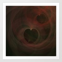 Abstract Art Hearts Art Print