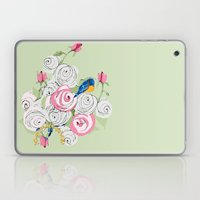 Bluebirds and Roses on Green Laptop & iPad Skin