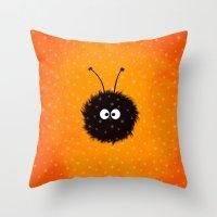 Orange Cute Dazzled Bug … Throw Pillow